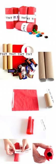 DIY Minecraft TNT Party Favors with paper towel rolls and red tissue paper Lego Minecraft, Minecraft Crafts, Minecraft Creations, Minecraft Houses, Minecraft Bedroom, Minecraft Furniture, Minecraft Skins, Minecraft Birthday Party, 6th Birthday Parties
