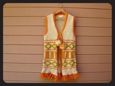60s Hippie Knitted Long Wool Vest Sweater by BlackMountainSide