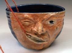 Large Funny Face Yarn Bowl Handmade Ceramic OOAK - pinned by pin4etsy.com