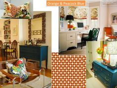 Chic Cottage Charm: Color Schemes -- Orange and Peacock blue