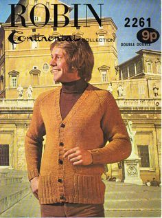 Mens Cardigan Mens Knitting Pattern PDF Download mens V neck Cardigan with…