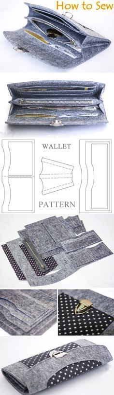 Wallet sewing pattern / tutorial, felt wallet pattern. DIY Photo Tutorial   http://www.handmadiya.com/2016/03/how-to-sew-felt-wallet-purse-tutorial.html