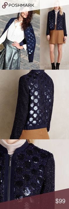 New Gorgeous Anthropologie Sequin Sky Bomber (M) Anthropologie Sequin Sky Bomber. Size M. New. Sold out. Chic unique and versatile, Elevenses midnight-blue sequined bomber catches the light and the eye. Its bomber lines are urban cool while its adorable tweeted boucle references Parisienne chic, and its sequins are simply adorable. Pair with Holiday dresses, or jeans and booties. Or pair with a smart black pencil and a crisp white blouse and take the Sequin Bomber to work. Anthropologie…