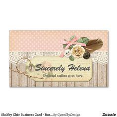 shabby chic rustic wood vintage lace u0026 feather business card