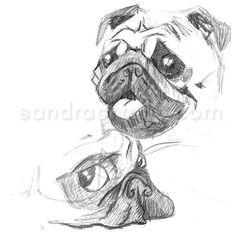 Pug sketches, by Sandra Ortuño (http://www.facebook.com/sandraortuno)