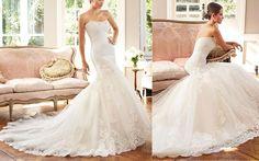Mermaid Wedding Dresses : Tulle & Satin Scoop Neckline Trumpet Wedding Dress With Beadings & Lace