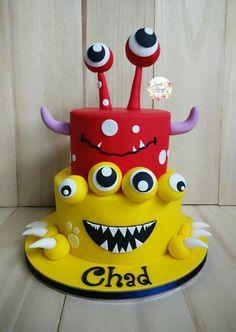 Monsterific Birthday Cake – Cake by Lulu Goh - Birthday Cake Blue Ideen Monster Birthday Cakes, Monster 1st Birthdays, Monster Birthday Parties, Themed Birthday Cakes, Themed Cakes, Monster Party, First Birthdays, Theme Halloween, Halloween Cakes