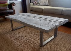etsy Reclaimed wood cast concrete coffee table by smithconcretedesign, $1000.00