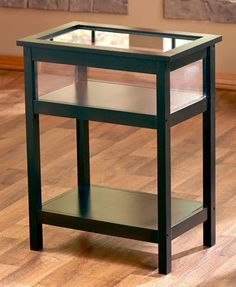Black End Table Display Glass Top Memorabilia Display Endtable Shadow Box  New