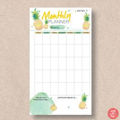 Shop this tropical themed pineapple monthly insert for Personal size planners. Download the PDF planner printable now and use it over the Summer months. Check out the rest of our range at http://www.etsy.com/shop/stickwithsam | Monthly Calendar | Monthly Planner Organization | Monthly Planner DIY | Printables | Printable Planner