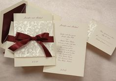 Elegant Wedding Invitations | Ecru Wedding Invitations Set Burgundy Ribbon | MonsterMarketplace.com