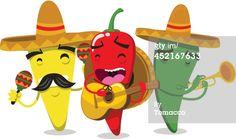 Vector Art : Chili Pepper Mariachi Mariachilis