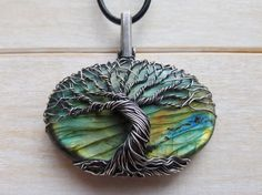Labradorite Tree Of Life Pendant  Wire Wrapped by EmmaWyattArt