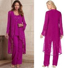 New Fuchsia Mother Of Bride Pant Suit Three Pieces Chiffon Formal Evening Gowns Mother Of The Bride Trouser Suits, Mother Of The Bride Dresses Long, Mothers Dresses, Maila, Gowns With Sleeves, Bridal Wedding Dresses, Wedding Veil, Party Gowns, Prom Party