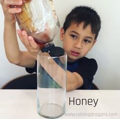 This liquid density experiment is a classic, kitchen science experiment that is easy to pull together from objects you have around the house and will amaze! Science Experiments Kids, Science Projects, Density Experiment, Kitchen Science, Toddler Learning Activities, Raising, Dragons, Crafts For Kids, Preschool