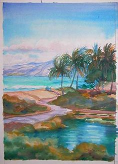 "Painting ""The Beach House Across the Pond"" by Plein Air Painter of Hawaii artist Becky Holman"