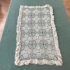 Vintage Crocheted Table Runner Dresser Scarf Side Board