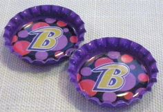 NFL Baltimore Ravens Football B Logo w/ Pink Polka by SweetieBeads, $5.00
