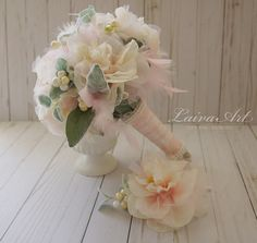 Wedding Flowers Bridal Bouquet Wedding Bouquets Peonies Roses Artificial Bouquet with Boutonniere Blush Pink Brooch Bouquet by LaivaArt on Etsy