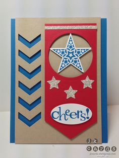 Stampin' Up!, PPA 162, Simply Stars, Happy Hour, Circles Collection Framelits, Chevron Border Punch, Merry Minis Punch Pack, Extra Large Oval Punch, Silver Glimmer Paper