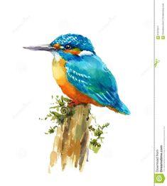 Kingfisher - Original Watercolor Bird Painting 8 x 11 inches Nature Hemp Paper Watercolor Drawing, Watercolor Bird, Watercolor Illustration, Painting & Drawing, Watercolor Paintings, Bird Drawings, Animal Drawings, Air Birds, Nature
