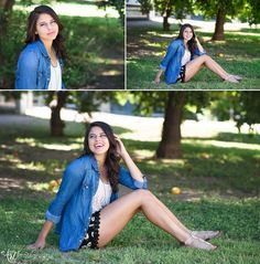 senior pics - what to wear: layers! Cute shorts paired with a lace top and denim jacket. Adorable!