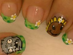 Plants vs Zombies nail art video tutorial. - Awesome!!!!! I love how she uses craft paint to do the designs!