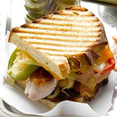 Applejack Turkey Sandwich from Midwest Living. Gourmet Sandwiches, Turkey Sandwiches, Wrap Sandwiches, Panini Sandwiches, Sandwich Recipes, Leftover Turkey Recipes, Leftovers Recipes, Apples And Cheese, Whats For Lunch