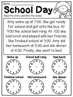 First Grade Time Worksheets - Hour, Half Hour & Quarter Hour - Distance Learning 2nd Grade Math Worksheets, 1st Grade Math, Teaching Time, Teaching Math, Maths, Teaching Money, Homeschool Math, Homeschooling, Homeschool Worksheets