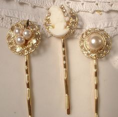 Vintage Ivory Pearl & Rhinestone on Gold Jeweled Bridal Bobby Pins - 22K Gold Heirloom Jeweled Hair Clips Set of 3. $31.99, via Etsy.