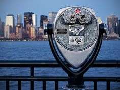 Coin operated Binoculars in foreground of New York skyline. View from Liberty State Park, NJ. Photo by Dhaval Jani