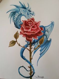 dragons and roses tattoos dragon with roses by tattoos pinterest dragons tattoo and tatting. Black Bedroom Furniture Sets. Home Design Ideas