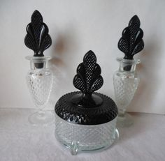 6 pc Martinsville Vanity Art Deco glass perfume dresser set glass powder puff with lid glass perfume vintage perfume set perfume bottle set