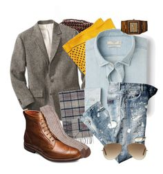 """""""denim grew up"""" by jeffrie-st-james ❤ liked on Polyvore featuring Brooks Brothers, Barbour, Barneys New York, MANGO, Ray-Ban, women's clothing, women's fashion, women, female and woman"""