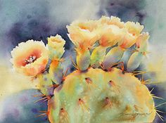 Pricklies Full of Sunshine by Yvonne Joyner, Watercolor