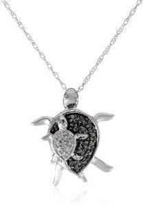 """XPY 10k White Gold Mother and Baby Turtle Diamond Pendant Necklace, 18"""""""