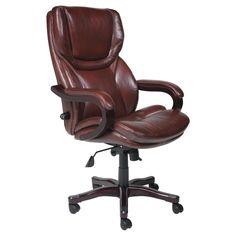 Serta Eco-friendly Bonded Leather Executive Big & Tall Office Chair - Dark Redwood