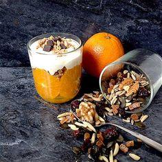 Parfait de laranja, com mix de frutos secos