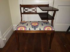 "Antique Telephone Table, Recovered ""Gossip Bench"" - Vintage Bench With Shelves"