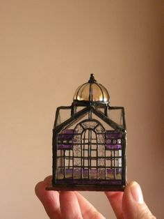 Dollhouse Miniature 1:12 Scale Artisan Made Tiny Leaded Glass Conservatory, Birdcage, or Terrarium. $85.00, via Etsy.