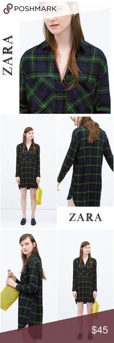 Zara Check Plaid Shirt Sz M Barely worn in soft light cotton shirt. Super cute and comfortable to wear! Zara Tops