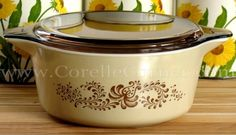 Pyrex Brown Homestead 475 casserole, with clear brownFireside 475 lid.