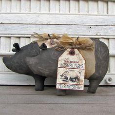 Pig - Primitive Black Banded Pig - Primitive Pig Tuck Bowl Filler. $9.50, via Etsy.