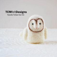 Needle Felting Kit Owl complete bird wool fiber by TCMfeltDesigns, $24.00