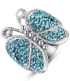 Arco Iris Jewelry – Joya hecha de acero inoxidable Anillo para mujer de tono azul eléctrico
