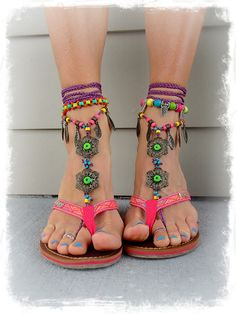 BIKINI BAREFOOT Sandals Toe Anklet LEAF Jewelry Crochet by GPyoga