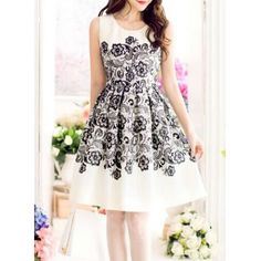 Vintage Scoop Neck Sleeveless Printed Slimming Women's DressVintage Dresses | RoseGal.com
