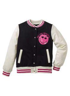 Колледжская куртка «Смайлик», Smiley, черный/белый
