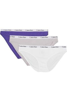 Calvin Klein Underwear - Set Of Three Carousel Stretch-cotton Jersey Briefs - Gray - medium