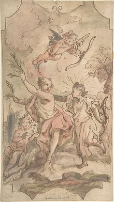 Anonymous, Italian, first half of the 18th century. Apollo and Daphne: Design for a Wall or Ceiling Panel, 18th century. The Metropolitan Museum of Art, New York. Gift of Cephas G. Thompson, 1887 (87.12.52) ~ETS
